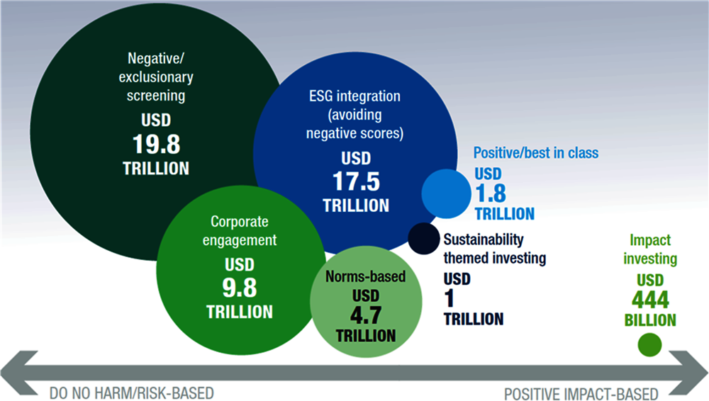Figure 3.8. Few types of sustainable investment are based on non-financial impacts