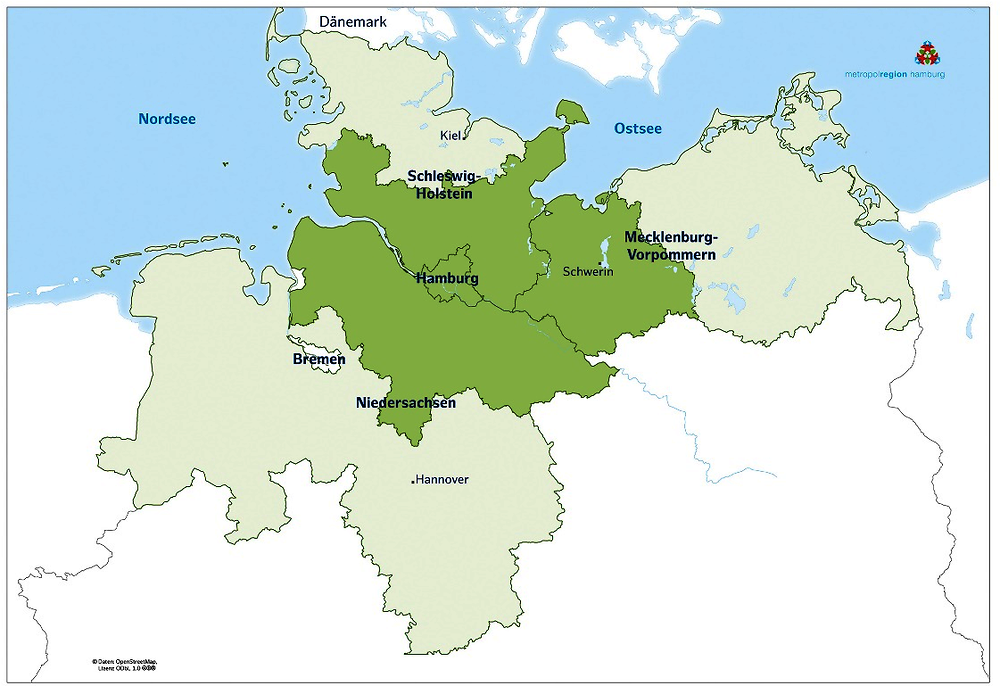 Figure 1.1. The metropolitan region of Hamburg with constituent federal states