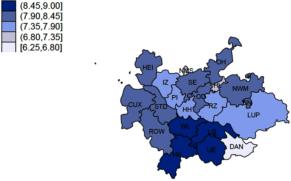 Figure 1.26. Mean housing satisfaction in the HMR at the district level (0 to 10 scale)