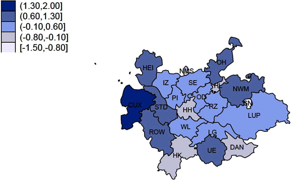Figure 1.27. Change in floor space in square metres per resident 2011-15 (%)