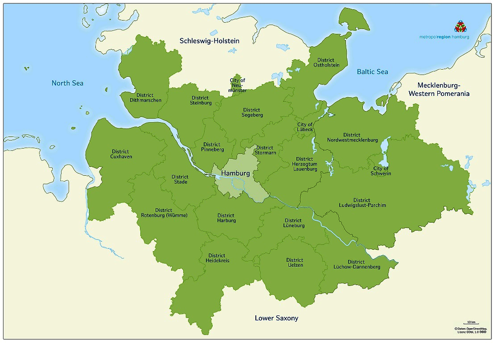 Figure 1.2. The metropolitan region of Hamburg with constituent districts