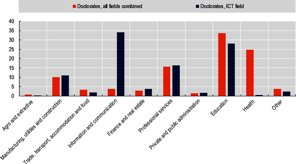Figure 2.10. The distribution of ICT doctorates across industries