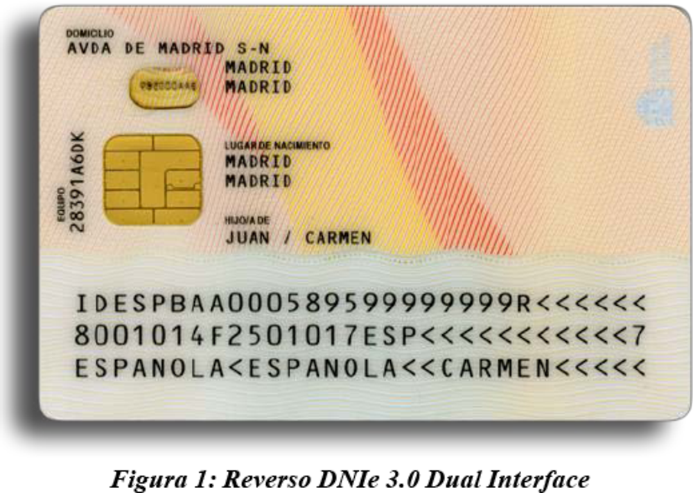 Figure 2.20. DNIe 3.0 dual interface (back of the card)