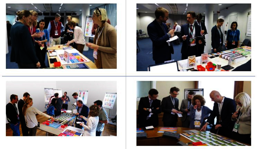 Figure 15.4. Gameplay in action at the European External Action Service, Brussels (top left and right); the Directorate General for International Cooperation and Development of the European Commission, Brussels (bottom left); and at OECD, Paris (bottom right).