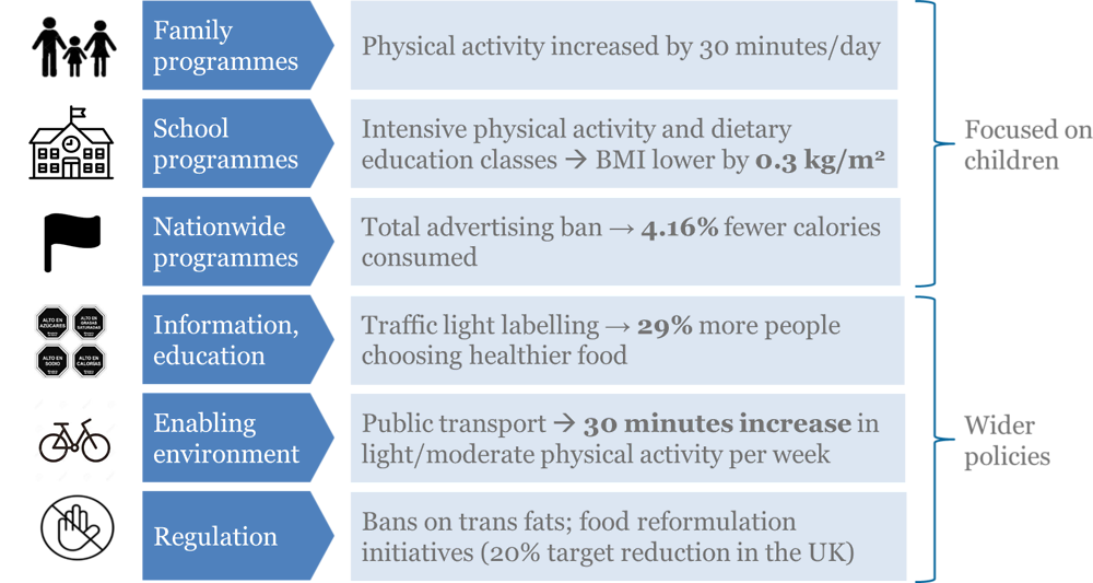 Figure 5.7. Types of programmes that can prevent obesity in children