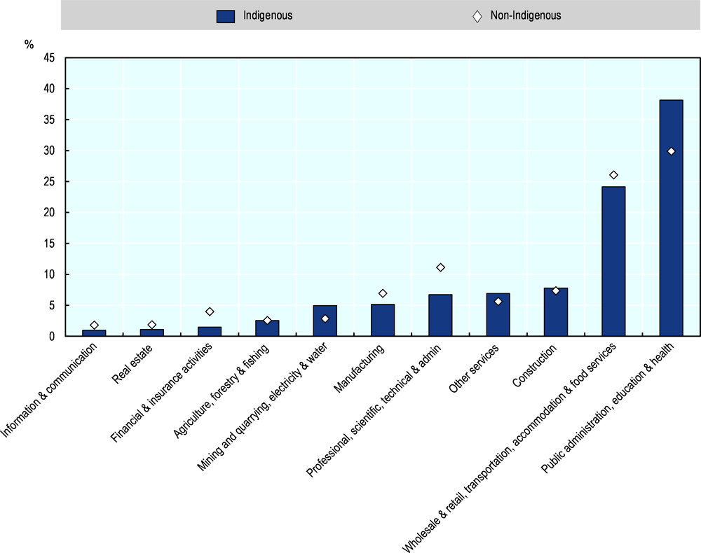 Figure 2.18. Share of employment by industry, Indigenous and non-Indigenous, 2016