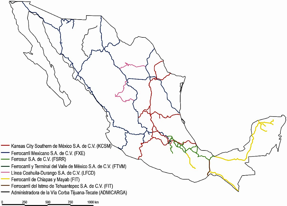 Figure ‎3.3. Mexico's rail concessions and short lines in 2018