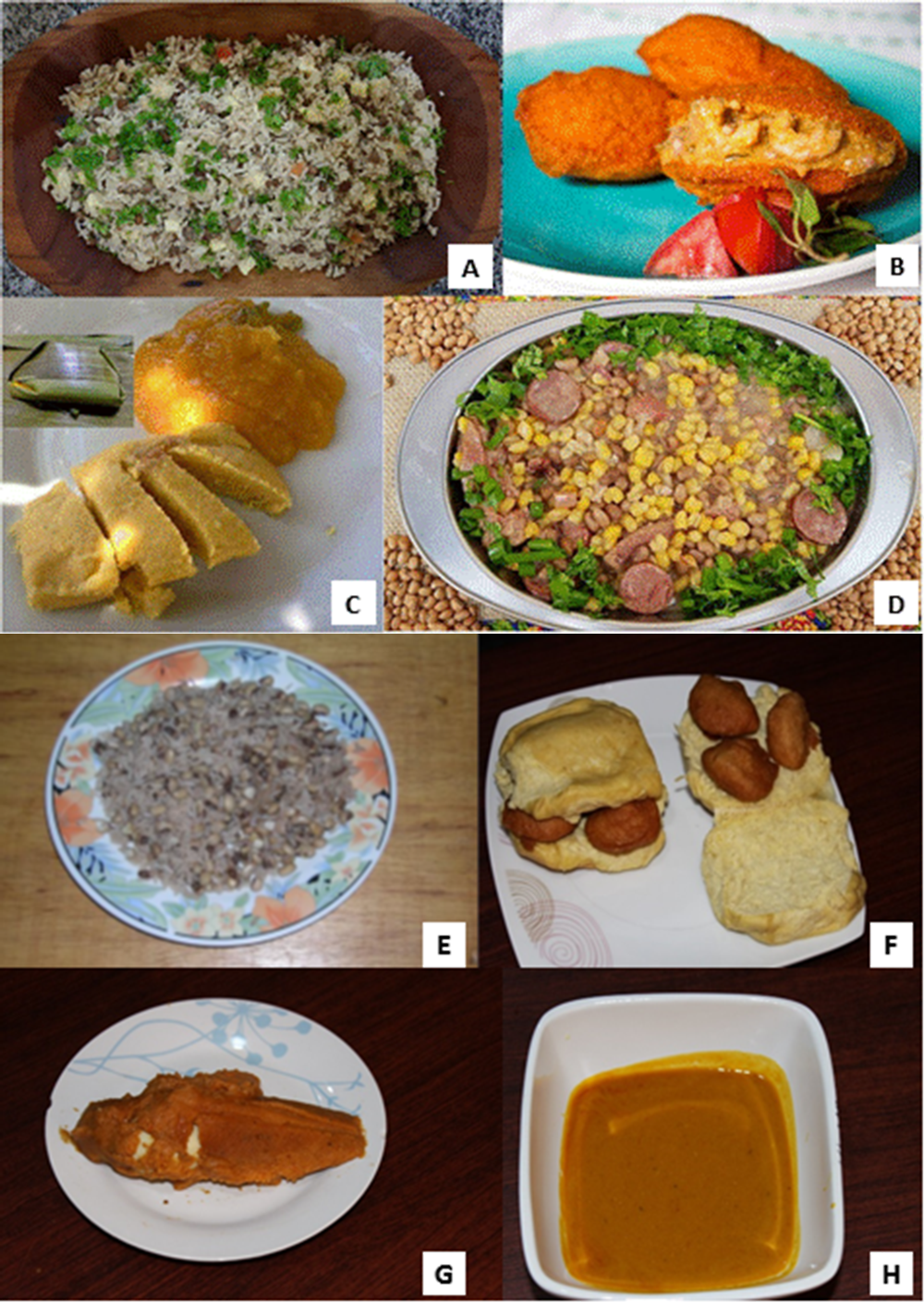 Figure 3.3. Examples of Brazilian (A-D) and Nigerian (E-H) cowpea dishes