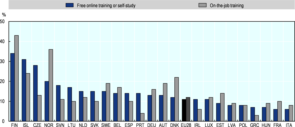 Figure 5.3. Individuals who carried out training to improve their digital skills, by type, 2018