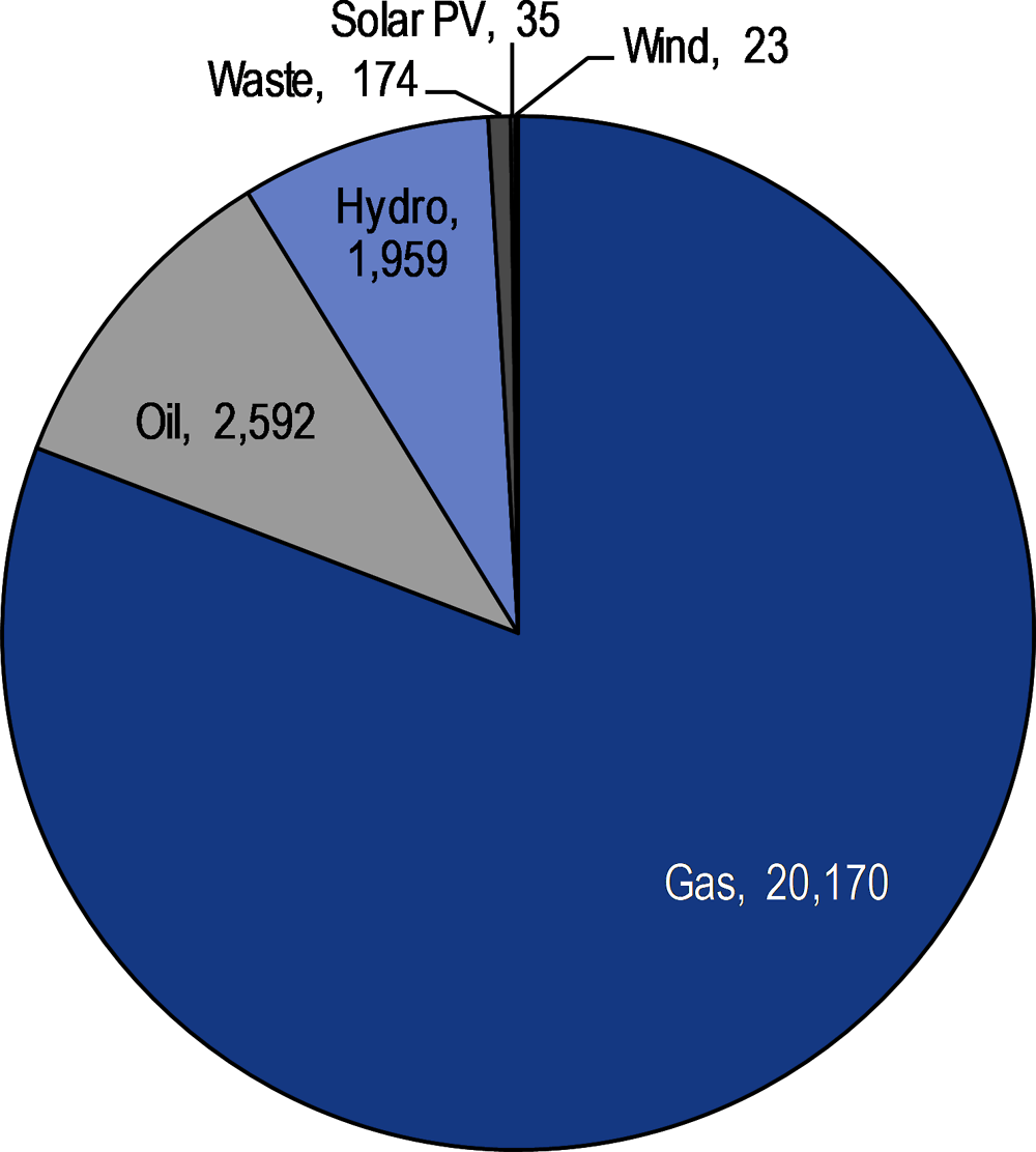 Figure 2.9. Electricity generation by fuel (GWh, 2016)