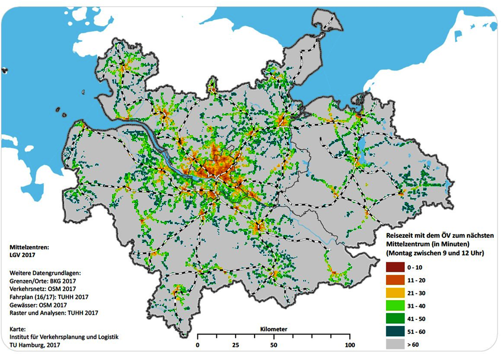 Figure 3.11. Accessibility of the next medium-level centres by public transport in the HMR