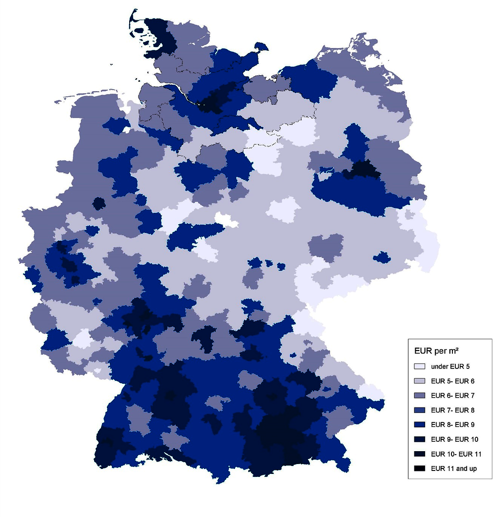 Figure 3.2. Rental prices in Hamburg and its surrounding districts are among the most expensive in Germany
