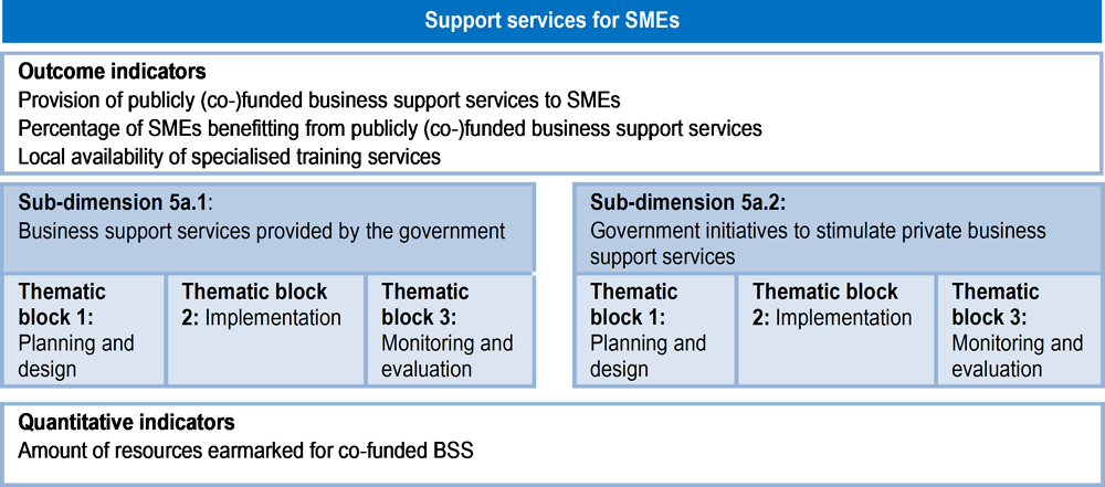Figure 5.2. Assessment framework for Dimension 5a: Support services for SMEs