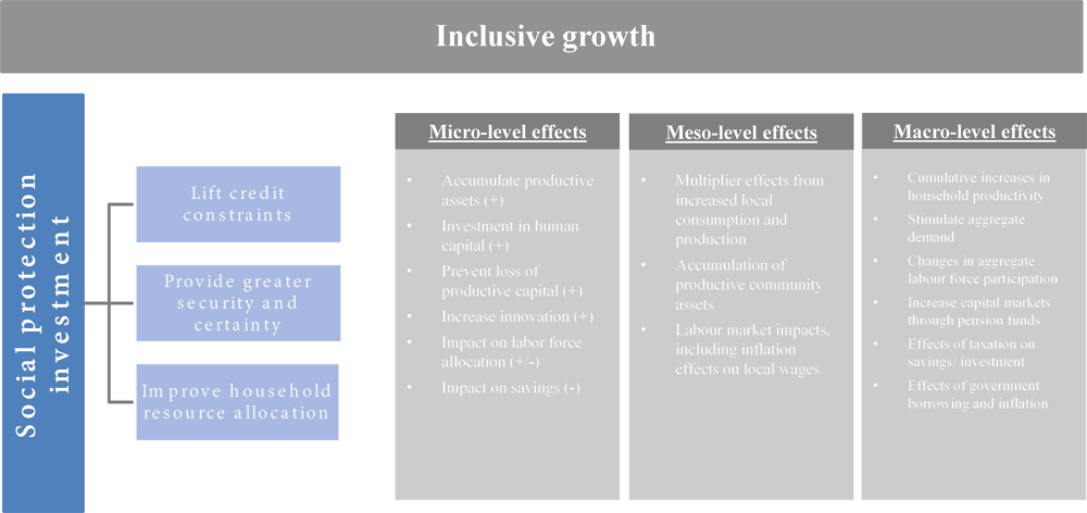 Figure 1.1. Social protection investments can affect inclusive growth through micro-, meso- and macro-level effects