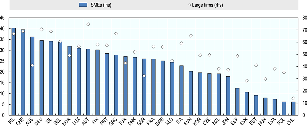 Figure 3.2. Firms undertaking an innovation strategy as a percentage of all firms