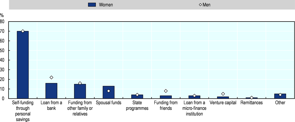 Figure 2.29. The most common source of financing for self-employed women is self-funding