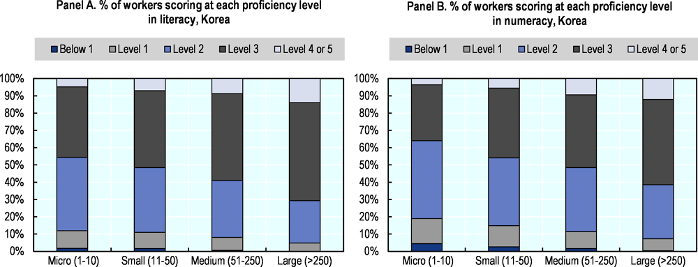 Figure 1.16. Proficiency levels in literacy and numeracy, by firm size, Korea
