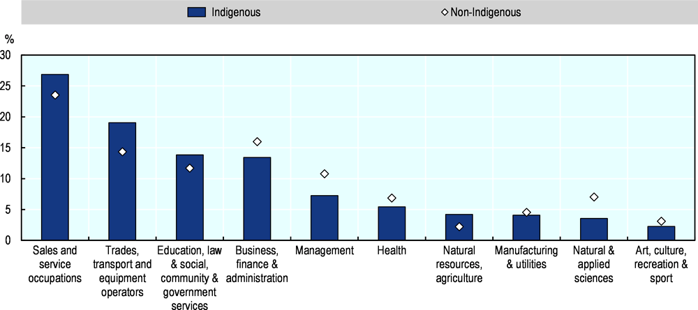 Figure 2.12. Share of Indigenous and non-Indigenous employment by occupation, 2016