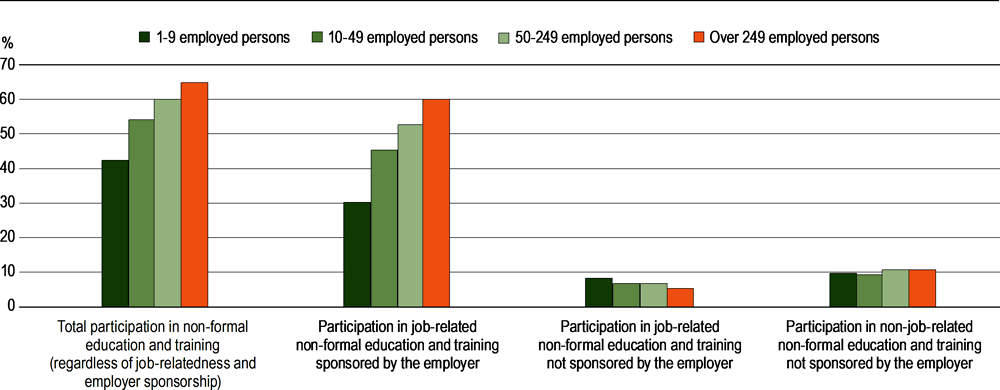 Figure A7.1. Share of employed 25-64 year-olds participating in non-formal education and training, by job relatedness, employer sponsorship and size of enterprise (2016)